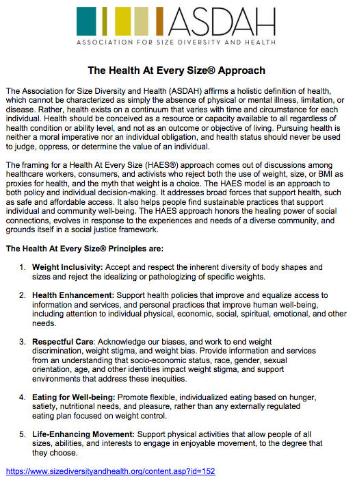 The Association for Size Diversity and Health (ASDAH) Health At Every Size® Approach