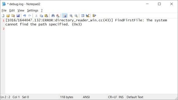 Debug.log file created by Chromium-based browsers