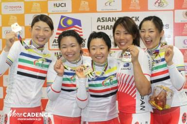 アジア&日本新記録で大差の金メダル、女子チームパシュート/アジア自転車競技選手権2018