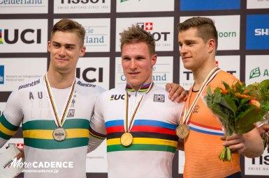 ジェフリー・ホーフラントが優勝、マシュー・グレッツァー銀、テオ・ボス銅/トラック世界選手権2018・男子1kmTT