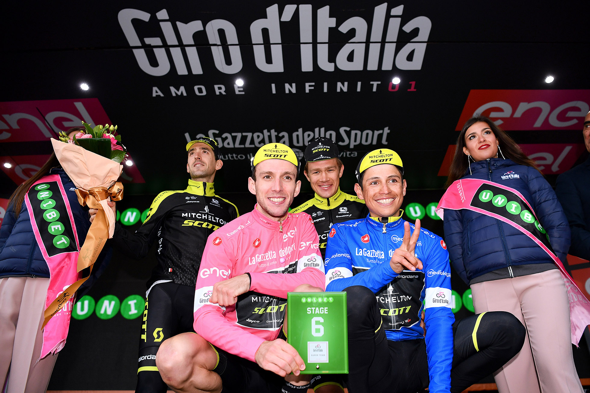 ETNA, ITALY - MAY 10: Podium / Simon Yates of Great Britain Pink Leader Jersey / Johan Esteban Chaves Rubio of Colombia Blue Mountain Jersey / Mikel Nieve Ituralde of Spain / Christopher Juul Jensen of Denmark / Team Mitchelton-Scott of Australia / Super Team / Celebration / during the 101th Tour of Italy 2018, Stage 6 a 164km stage from Caltanissetta to Etna-Oss.Astrofisico 1736m / Giro d'Italia / on May 10, 2018 in Etna, Italy. (Photo by Justin Setterfield/Getty Images)