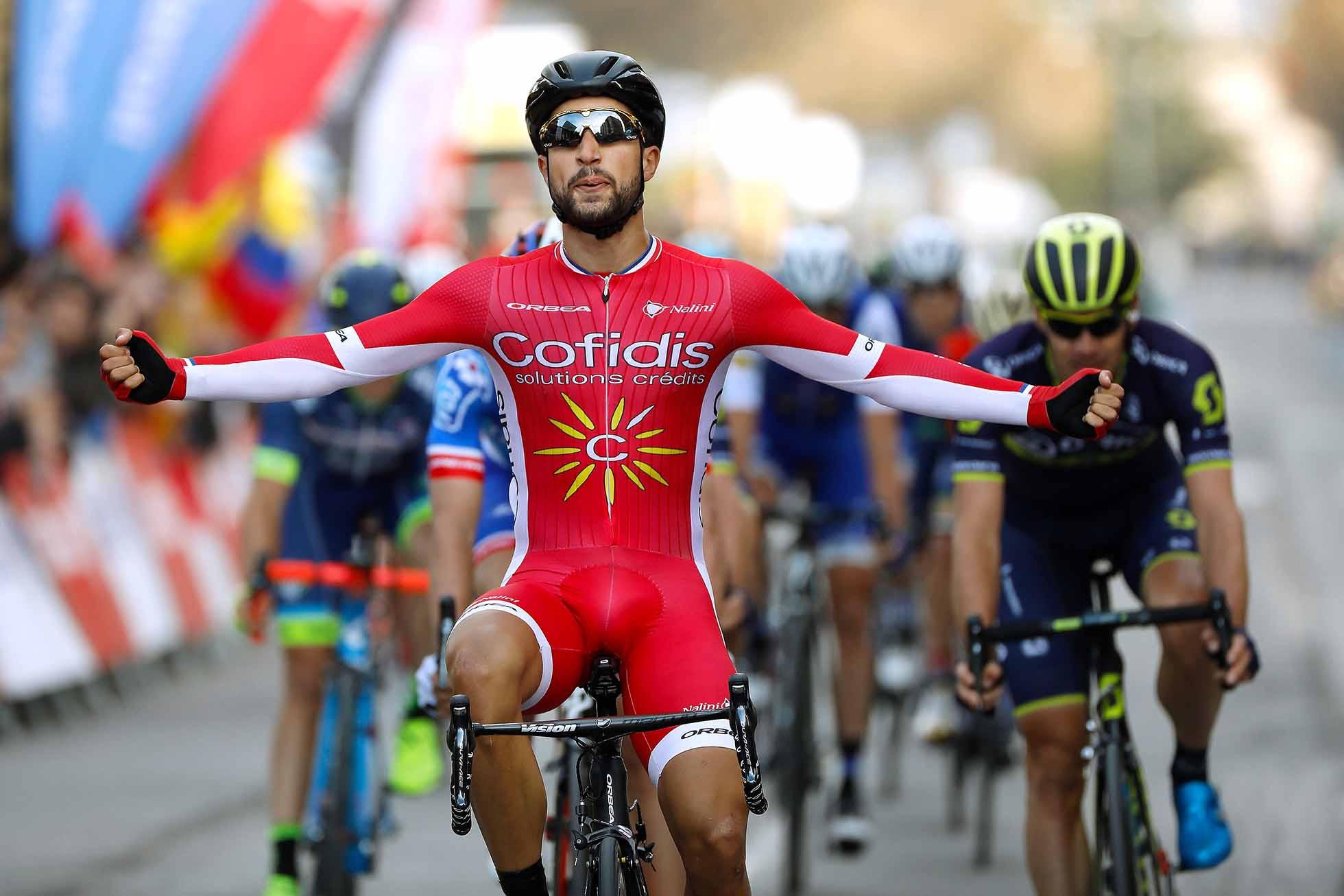 Cycling: 97th Volta Ciclista a Catalunya 2017 / Stage 4 Arrival / Nacer BOUHANNI (FRA)/ Celebration / La Seu d'Urgeil - Igualada (134km)/ Tour of Catalunya / (Photo by PGS/Tim De Waele/Corbis via Getty Images)