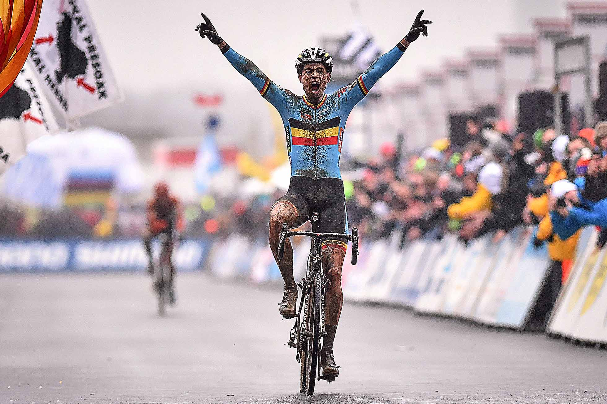 Cyclocross: World Championships 2016 / Men Elite / Arrival Wout van Aert (Bel) Celebration Joie Vreugde / Wereldkampioenschap / (c) Tim De Waele (Photo by Tim de Waele/Corbis via Getty Images)