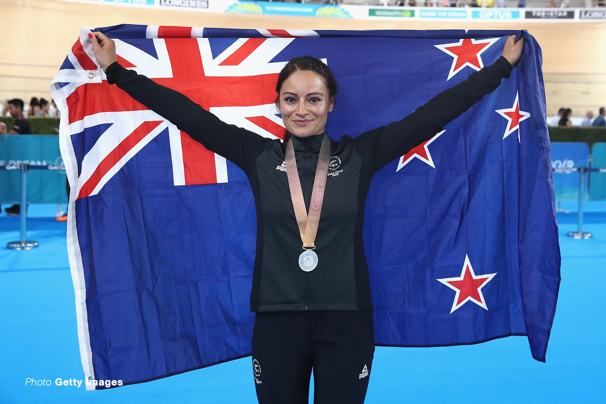 BRISBANE, AUSTRALIA - APRIL 06: Silver medalist Natasha Hansen of New Zealand celebrates during the medal ceremony for the Women's Sprint final on day two of the Gold Coast 2018 Commonwealth Games at Anna Meares Velodrome on April 6, 2018 in Brisbane, Australia. (Photo by Scott Barbour/Getty Images)
