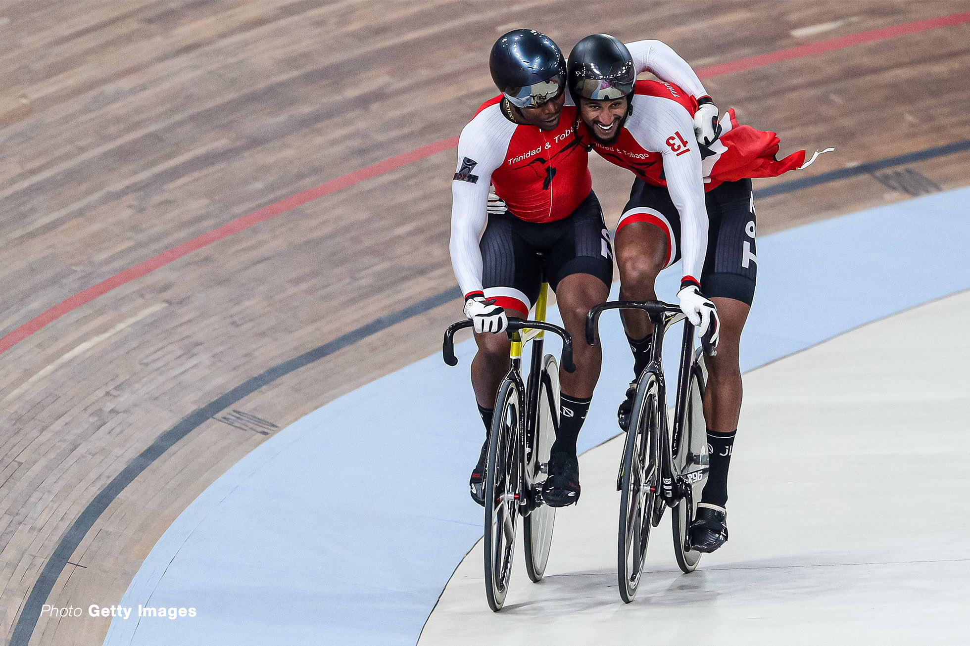 LIMA, PERU - AUGUST 03: Nicholas Paul (L) and Njianse Philip of Trinidad and Tobago celebrate after the final race in cycling track Sprint Men Finals Gold at Velodrome of VIDENA on Day 8 of Lima 2019 Pan American Games on August 03, 2019 in Lima, Peru. (Photo by Buda Mendes/Getty Images)