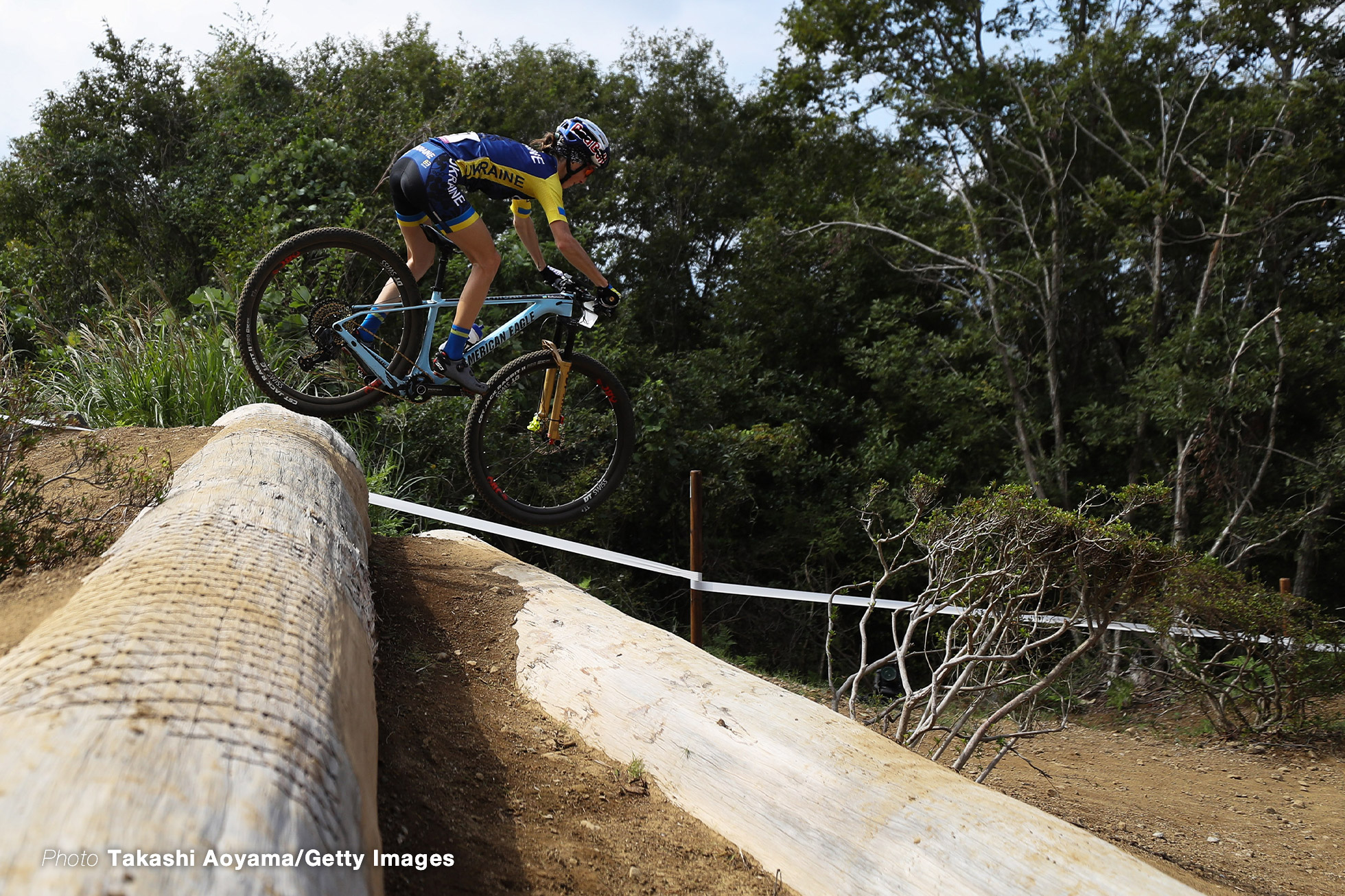 IZU, JAPAN - OCTOBER 06: Yana Belomoina of Ukraine competes in Women's race during the Cycling - Mountain Bike Tokyo 2020 Test Event on October 06, 2019 in Izu, Shizuoka, Japan. (Photo by Takashi Aoyama/Getty Images)
