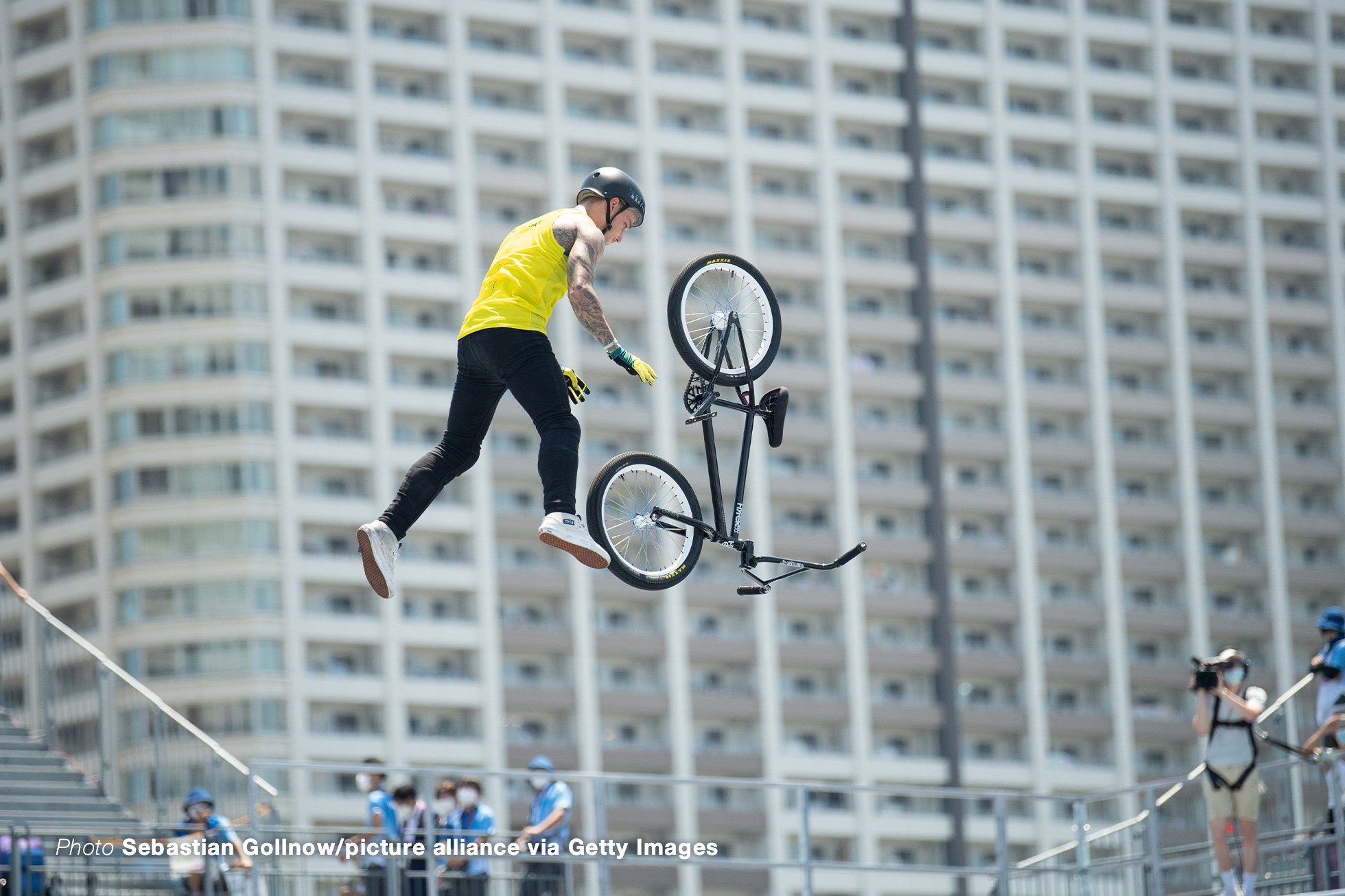 01 August 2021, Japan, Tokio: Cycling/BMX: Olympia: Freestyle, Men, Final: Martin Logan from Australia in action. Photo: Sebastian Gollnow/dpa (Photo by Sebastian Gollnow/picture alliance via Getty Images)