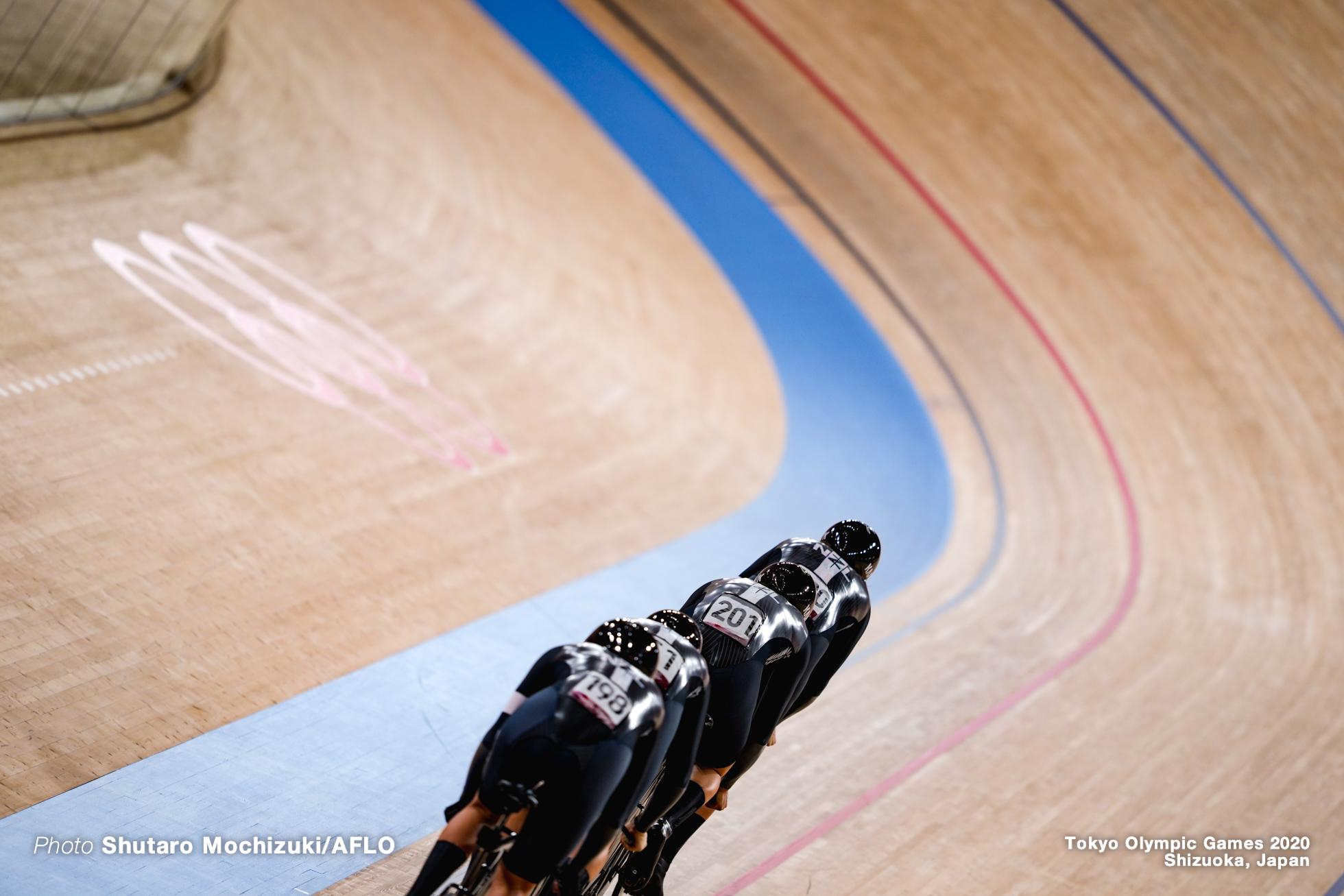 ホーリー・エドモンドストン Holly Edomondston (NZL), ブライオニー・ボサ Bryony Botha (NZL), キリスティー・ジェームス Kirstie James (NZL), ジャイミー・ニールセン Jaime Nielsen (NZL), Women's Team Pursuit Qualifying AUGUST 2, 2021 - Cycling : during the Tokyo 2020 Olympic Games at the Izu Velodrome in Shizuoka, Japan. (Photo by Shutaro Mochizuki/AFLO)