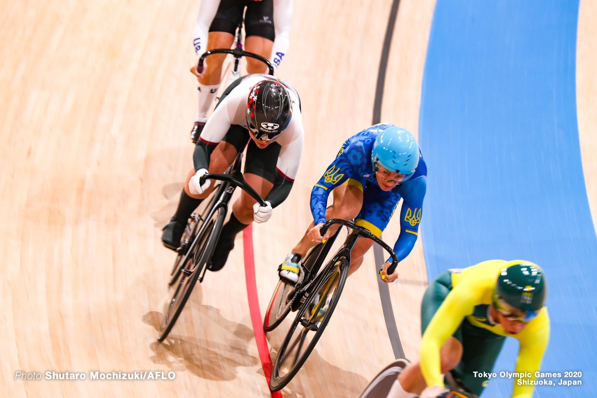 カーリー・マカラク Kaarle Mcculloch (AUS), ケルシー・ミシェル Kelsey Mitchell (CAN), 鍾天使 ゾン・ティエンシー Zhong Tianshi (CHN), 小林優香 Yuka Kobayashi (JPN), リウボフ・バソワ Liubov Basova (UKR), マンダリン・ゴドビー Madalyn Godby (USA), Women's Keirin Quarter-Final AUGUST 5, 2021 - Cycling : during the Tokyo 2020 Olympic Games at the Izu Velodrome in Shizuoka, Japan. (Photo by Shutaro Mochizuki/AFLO)