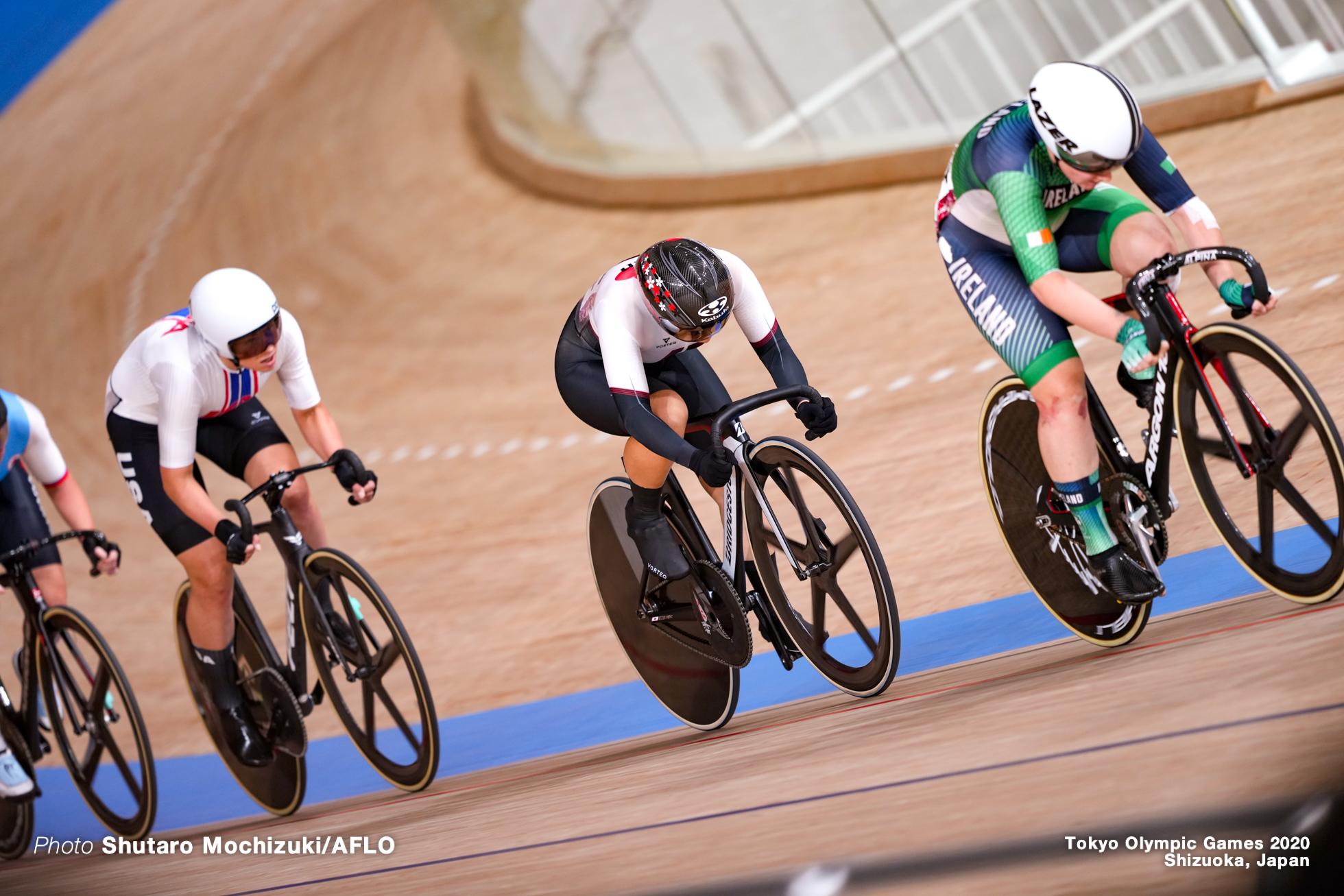 ジェニファー・バレンテ Jennifer Valente (USA), エミリー・ケイ Emily Kay (IRL), 梶原悠未 Yumi Kajihara (JPN), Women's Omnium AUGUST 8, 2021 - Cycling : during the Tokyo 2020 Olympic Games at the Izu Velodrome in Shizuoka, Japan. (Photo by Shutaro Mochizuki/AFLO)