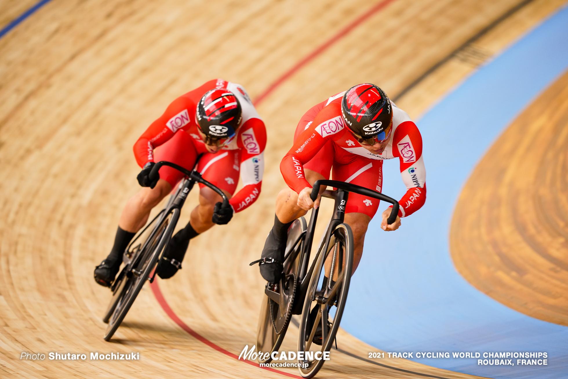 Men's Sprint 1/16 Finals / 2021 Track Cycling World Championships, Roubaix, TERASAKI Kohei(JPN)寺崎浩平, YAMASAKI Kento(JPN)山﨑賢人