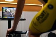 ALTEA, SPAIN - JANUARY 10: Indoor Training Zwift / Laptop / Detail view / during the Team Sport Vlaanderen - Baloise 2021 - Training Camp / on January 10, 2021 in Altea, Spain. (Photo by Tim de Waele/Getty Images)