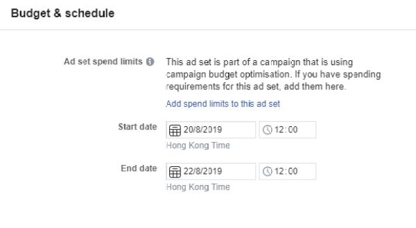 於Ad Set中Budget & Schedule設定推廣活動期間