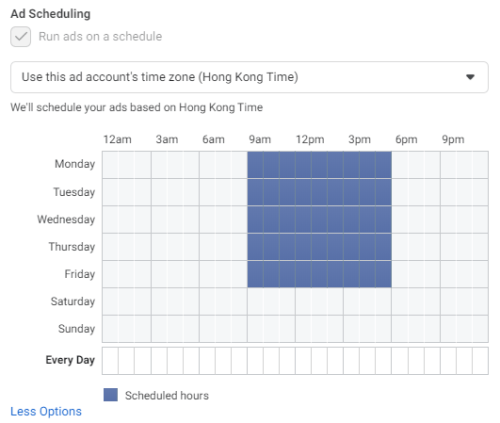 How you set up ad to run only on Monday to Friday office hour on Facebook