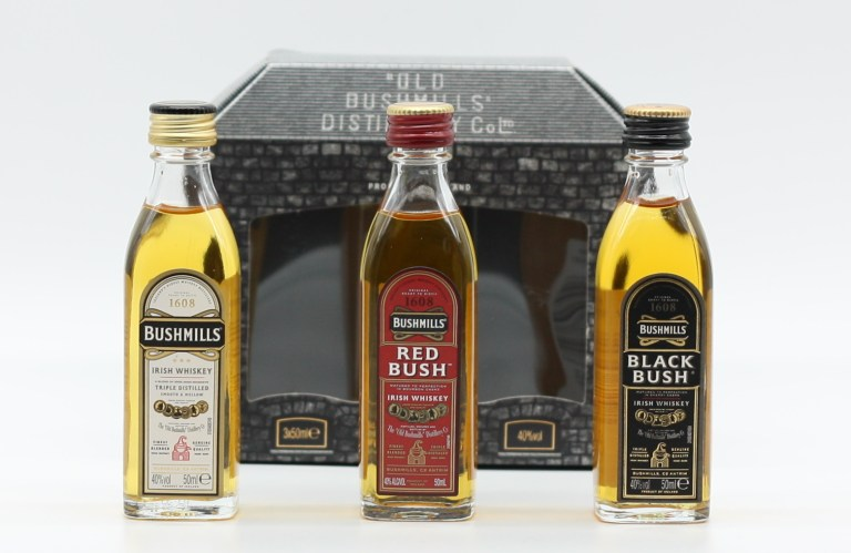 Three miniatures of Bushmills: Original, Red Bush and Black Bush