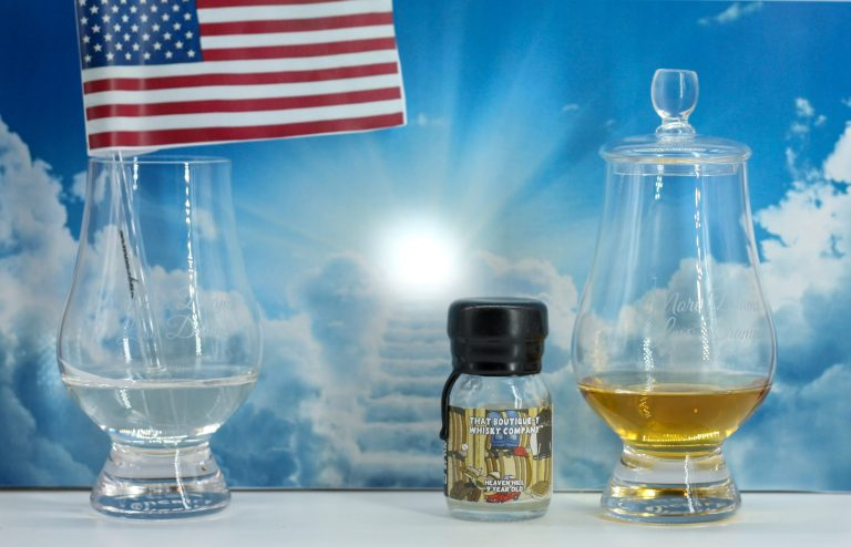 Stairway to heaven with an American flag and a dram of Heaven Hill American Whiskey