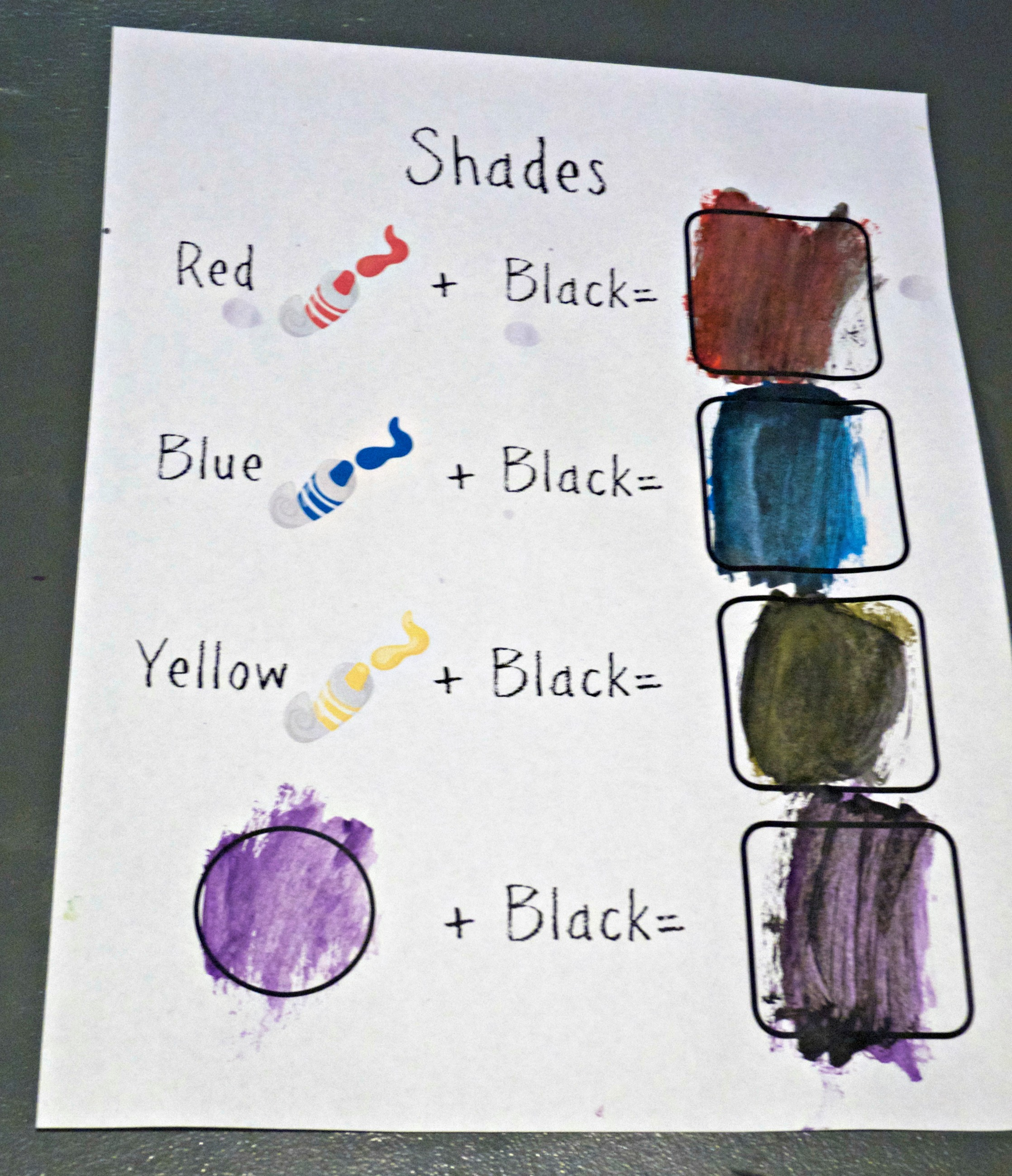 Free Printable Shades Color Mixing Page
