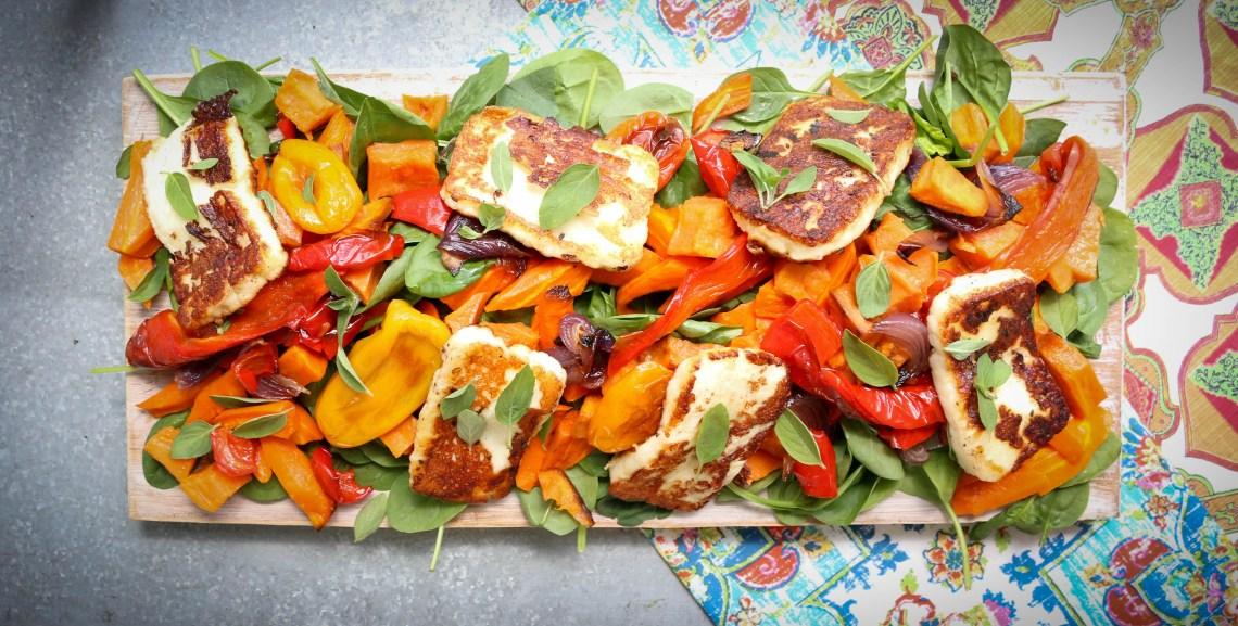 Roast veg and halloumi salad