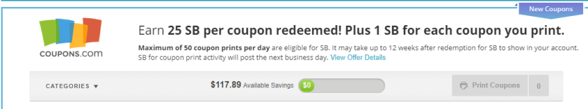 Earn by clipping coupons at Swagbucks