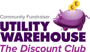 Fundraising for charity - community groups with Utility Warehouse Logo - more income and savings