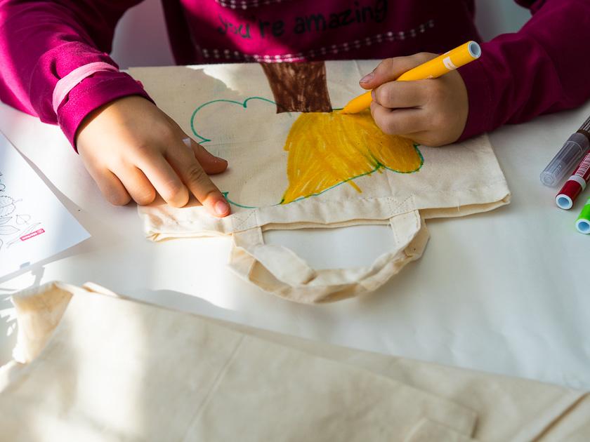 Brunchparty Kindergeburtstag für Mädchen_Stoffbeutel verzieren