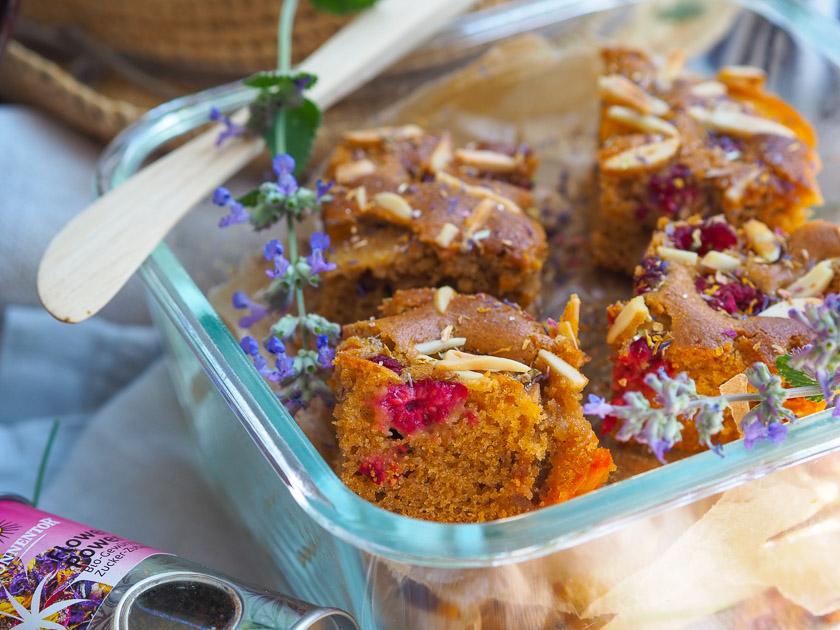 Familien Essen für draußen_Marillen Himbeer Kuchen