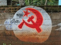 One of many hammer and sickle paintings