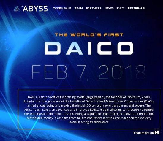 詐欺のないICO「DAICO」を採用したThe Abyssについて