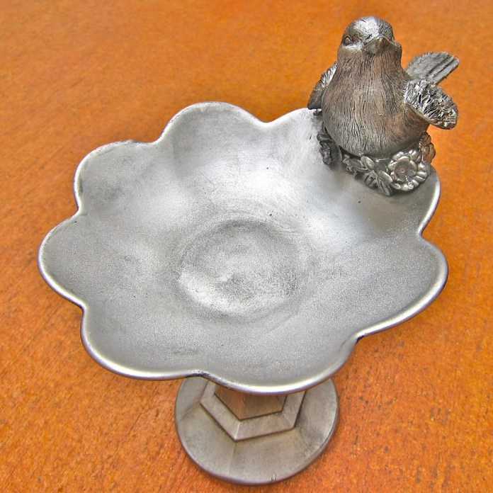 Turn dollar store items into faux pewter decor.