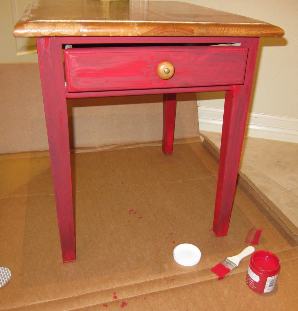 Superb Step one Paint the legs and base of the table red Paint the top black