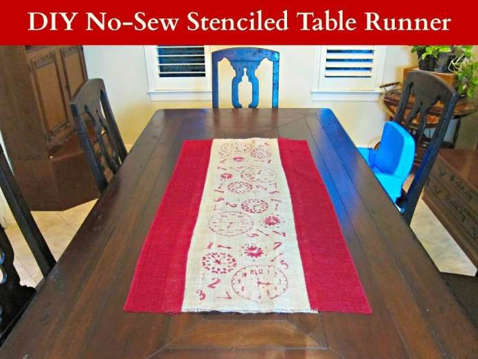 Use stencils and paint to create a beautiful no-sew burlap table runner in any design you like.