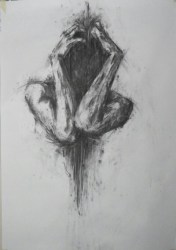 Image is a pencil drawing of a person with their arms wrapped around their body. Photo credit: Art Majeour
