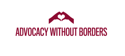 Logo for Advocacy Without Borders contains an illustration of two hands that are forming a heart shape between them.