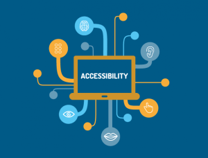 "Colorful image with the word ""accessibility"" in the center of a computer screen that has various tubes extending out of it. At the far/distal end of each tube there is a body part (i.e. lips, an ear, an eye, a brain, etc.) to signify a particular sensory or other type of disability that can benefit from accessibility. Pic taken from Medium dot com."