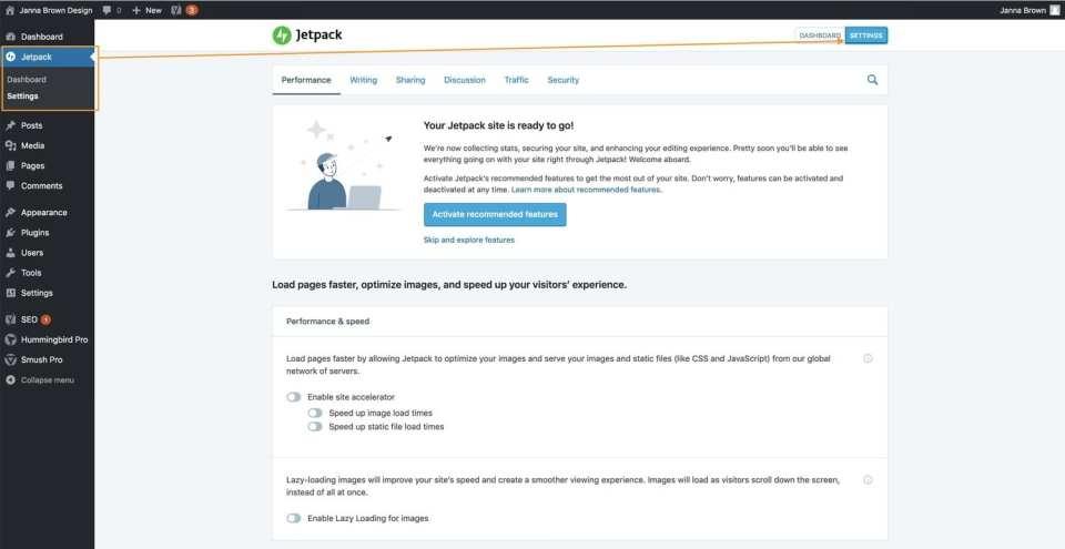 Jetpack Plugin settings in the WordPress dashboard