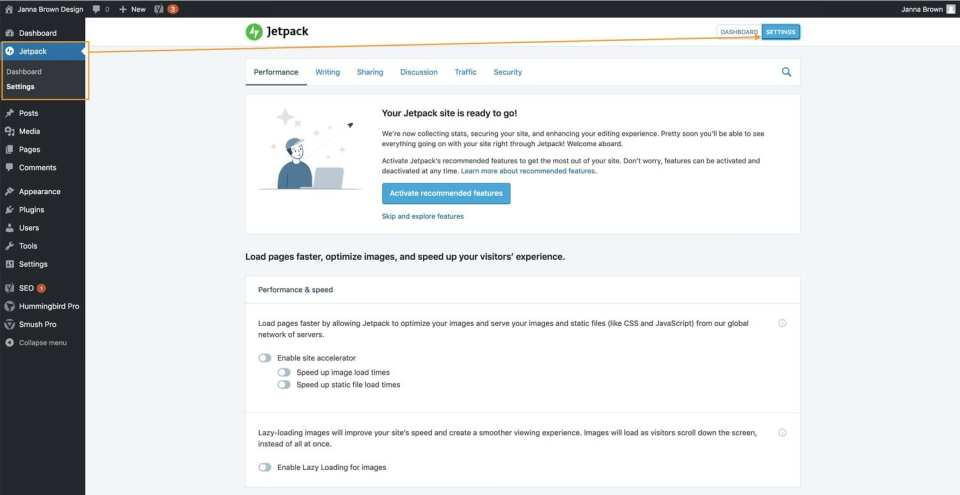 Jetpack Plugin settings in the WordPress dashboard
