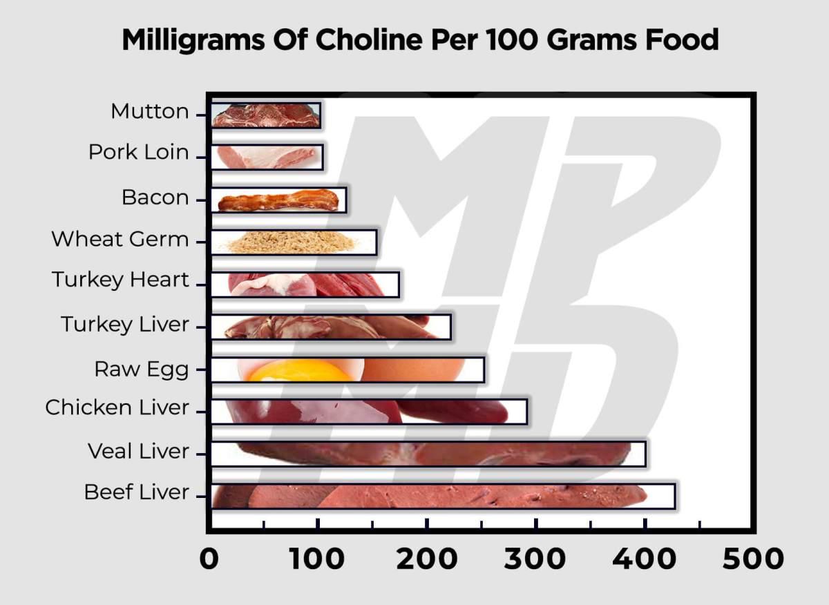 Milligrams Of Choline Per 100 Grams Food