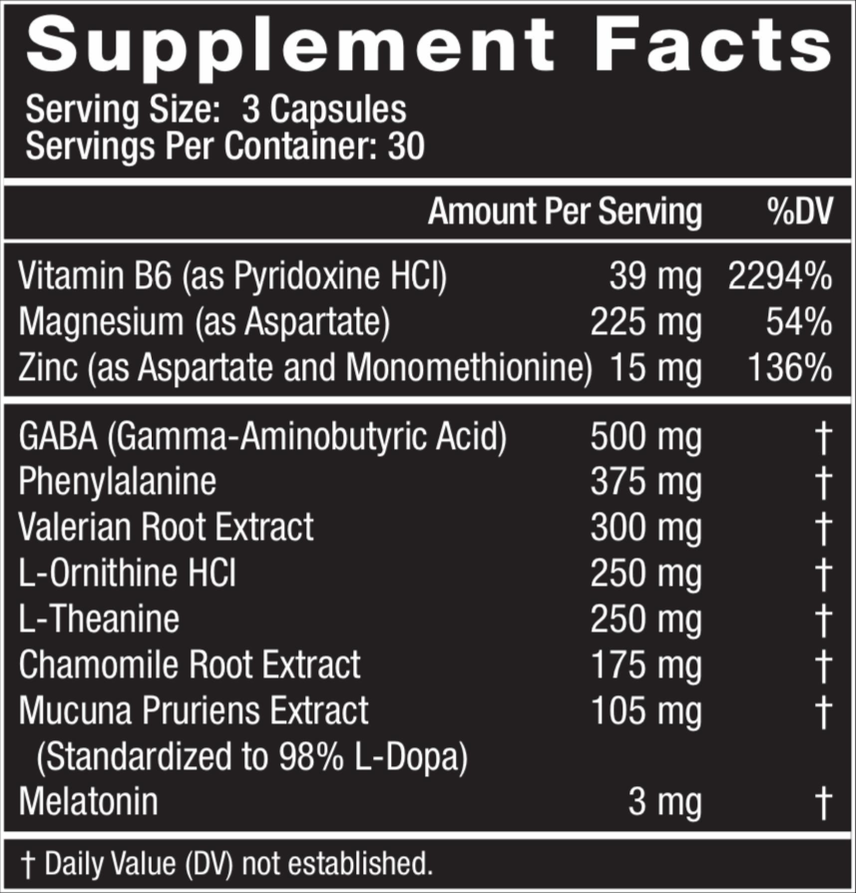 Gorilla Dream Ingredients - Supplement Facts Panel