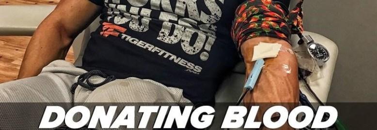 Bodybuilder donating blood