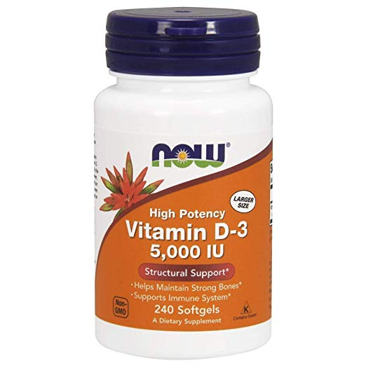 Bottle of NOW Supplements, Vitamin D-3 5000 IU