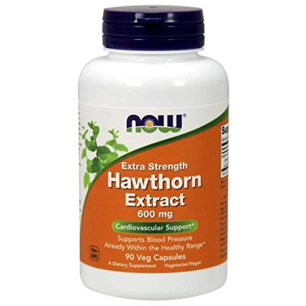 Bottle of Now Supplements, Hawthorn Extract, Extra Strength 600 mg, 90 Veg Capsules