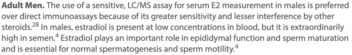 Use of Sensitive Assay Estradiol test for serum e2 snippet