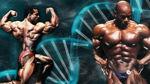 Flex Wheeler Posing In Front Of DNA Helix