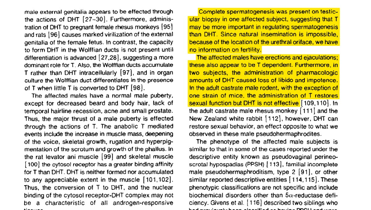 A snapshot of a study showing that libido can be restored by increasing Testosterone levels in DHT deficient individuals. This can be applied to those with Post Finasteride Syndrome by exemplifying how Testosterone can facilitate androgen dependent functions too.