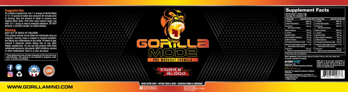 Gorilla Mode Pre-Workout Label Design And Supplement Facts Panel