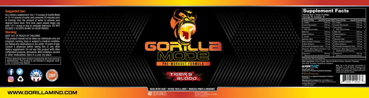 Gorilla Mode Ingredients/Label (Tiger's Blood Flavor)