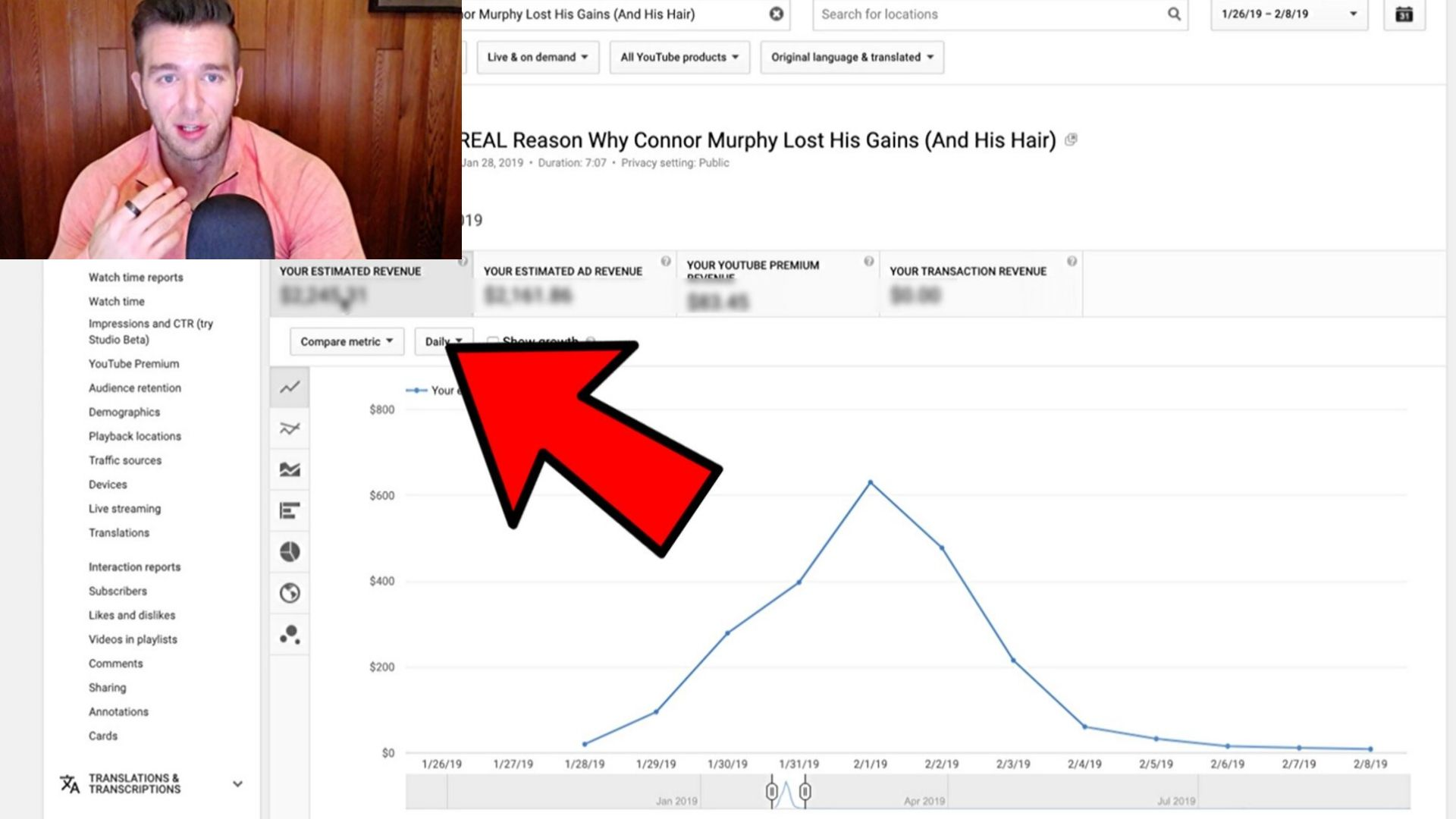 Derek his YouTube analytics and the revenue generated by a video with 1 million views in Canada