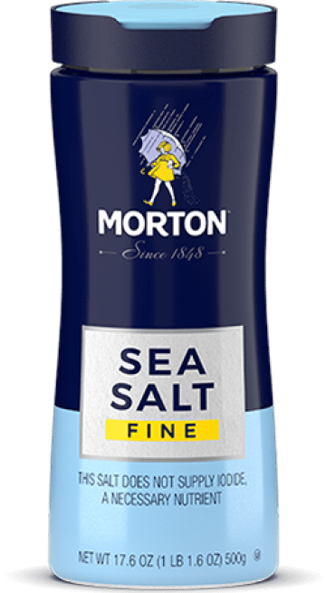 Bottle of Morton Fine Sea Salt