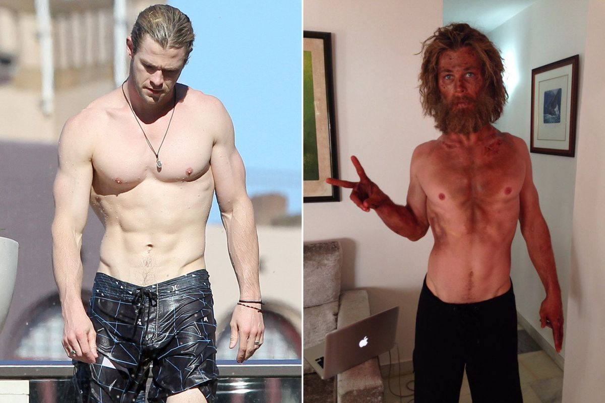 Chris Hemsworth Before And After Muscle Loss For In The Heart Of The Sea