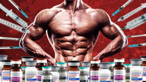 Muscular Man Standing Behind Several Vials Of Testosterone